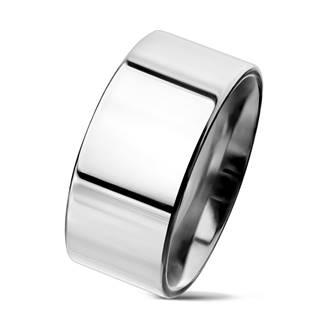 Hladký leštěný ocelový prsten šíře 10 mm