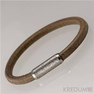 Kožený náramek - ocelový korálek broušený, tl. 5 mm, délka 20 cm