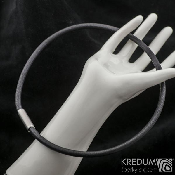 Kožený náhrdelník - oceľová gorálka, hr. 5 mm, dĺžka 45 cm