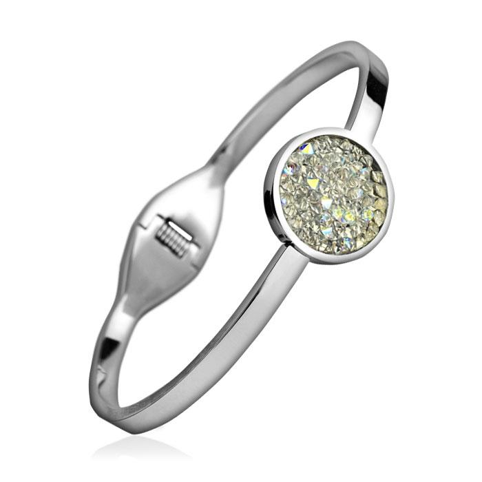 Oceľový náramok s kryštálmi Crystals from Swarovski ® CRYSTAL AB