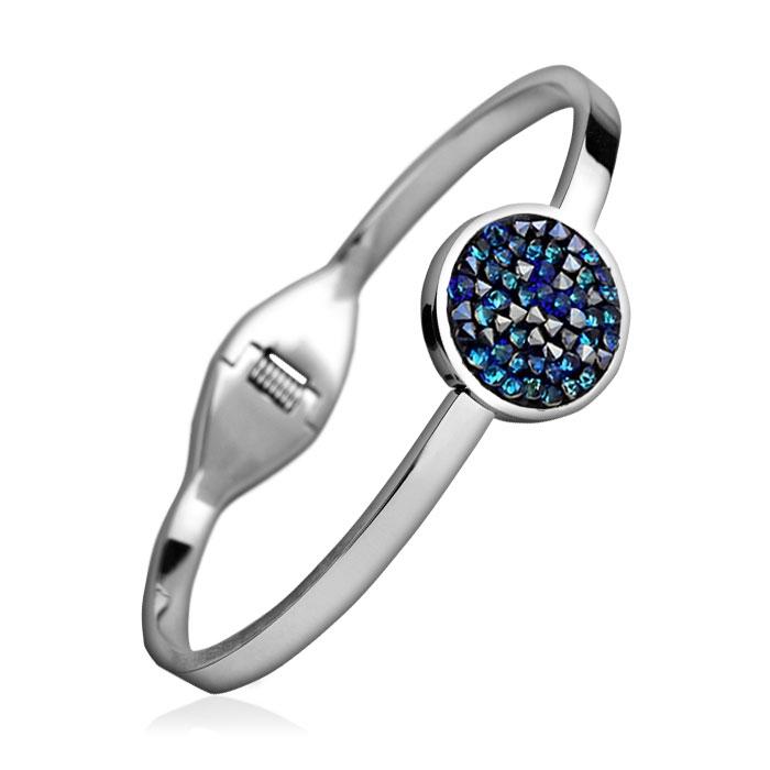 Oceľový náramok s kryštálmi Crystals from Swarovski ® BERMUDA BLUE