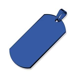 Ocelový přívěšek - vojenská známka EXTRA VELKÁ, modrá