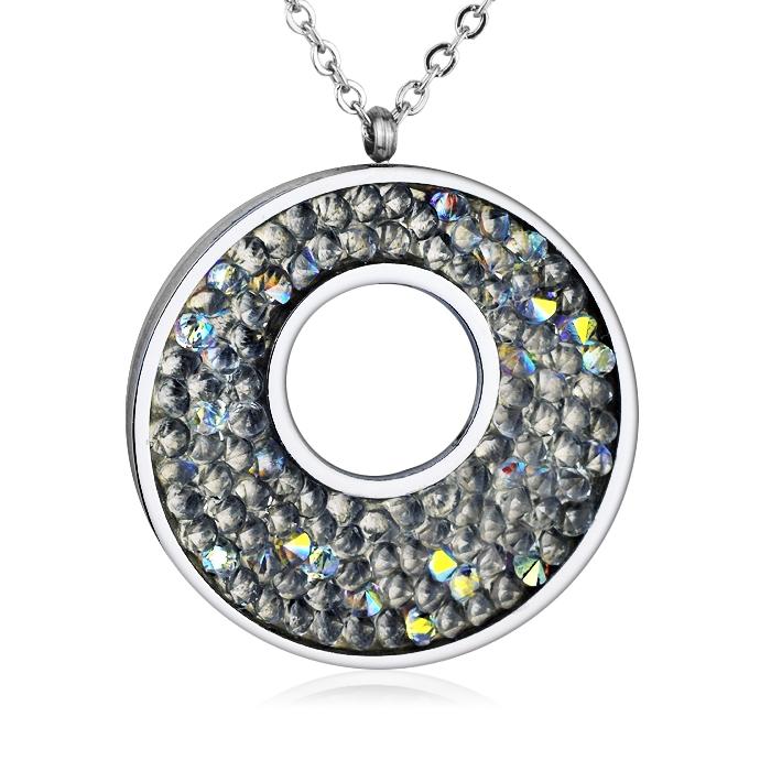 Oceľový náhrdelník s kryštálmi Crystals from Swarovski ®, CRYSTAL AB