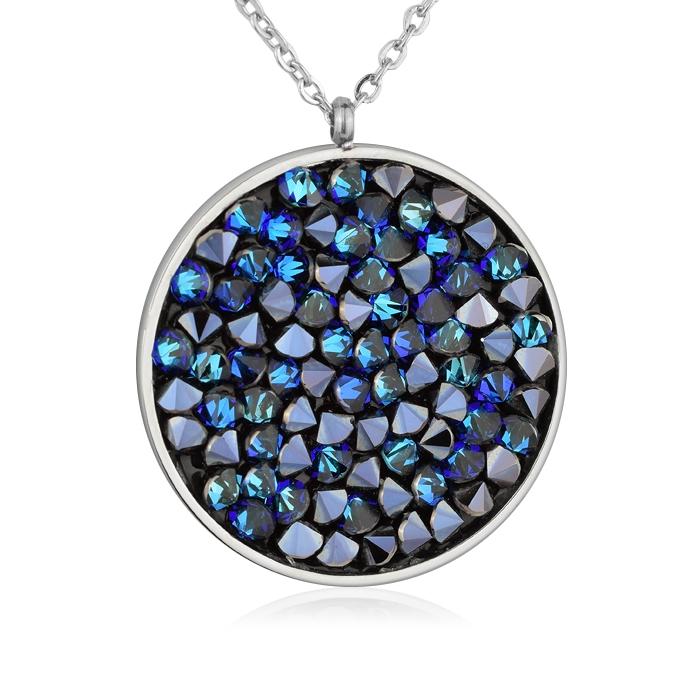 Oceľový náhrdelník s kryštálmi Crystals from Swarovski ®, BLUELIZED
