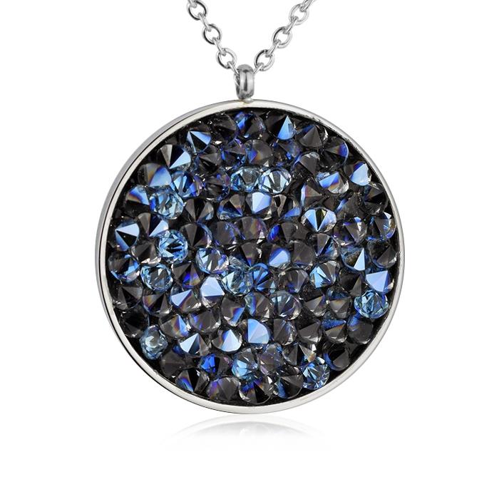 Oceľový náhrdelník s kryštálmi Crystals from Swarovski ®, BERMUDA BLUE