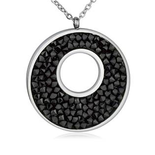 Ocelový náhrdelník s krystaly Crystals from Swarovski®, BLACK JET