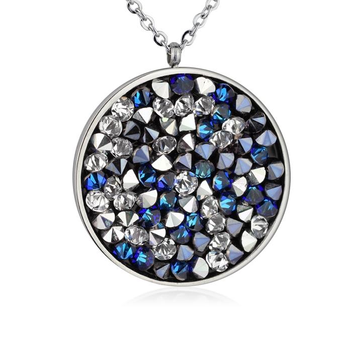 Oceľový náhrdelník s kryštálmi Crystals from Swarovski ®, BLUE PEPPER