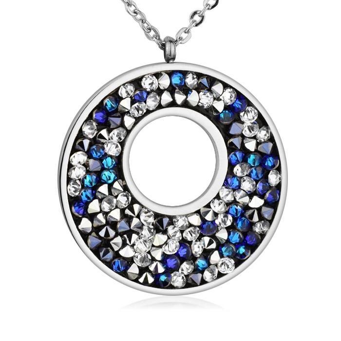 Oceľový náhrdelník s kryštálmi Crystals from Swarovski ®, BERMUDA BLUE PEPPER