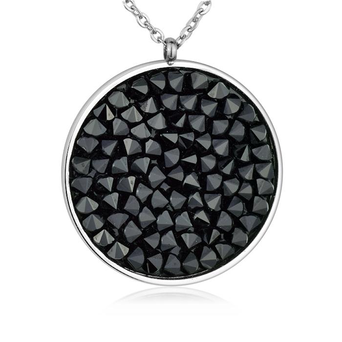Oceľový náhrdelník s kryštálmi Crystals from Swarovski ®, BLACK JET