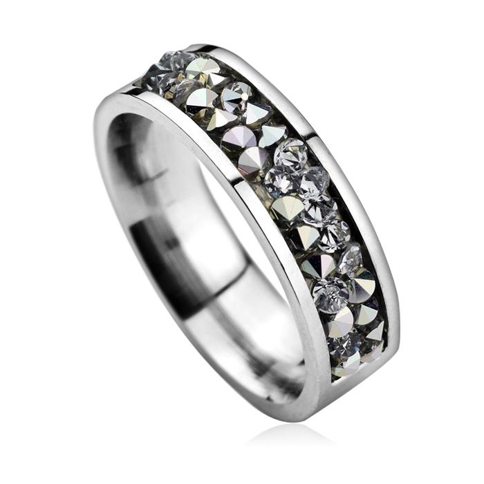 Oceľový prsteň SWAROVSKI®el., CRYSTAL CAL