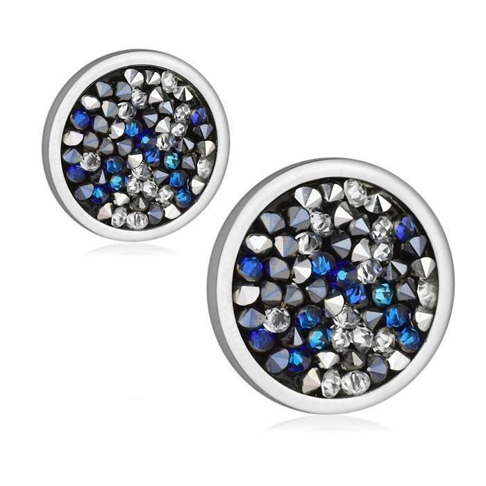 Ocelové náušnice s krystaly Crystals from Swarovski® BERMUDA BLUE PEPPER LV6002-BPE
