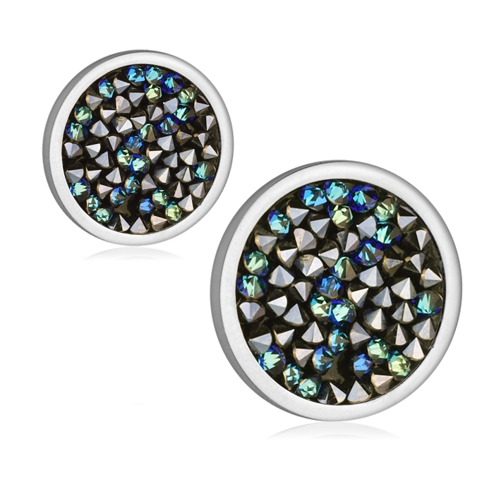Ocelové náušnice s krystaly Crystals from Swarovski®, BLUELIZED LV6002-BLU