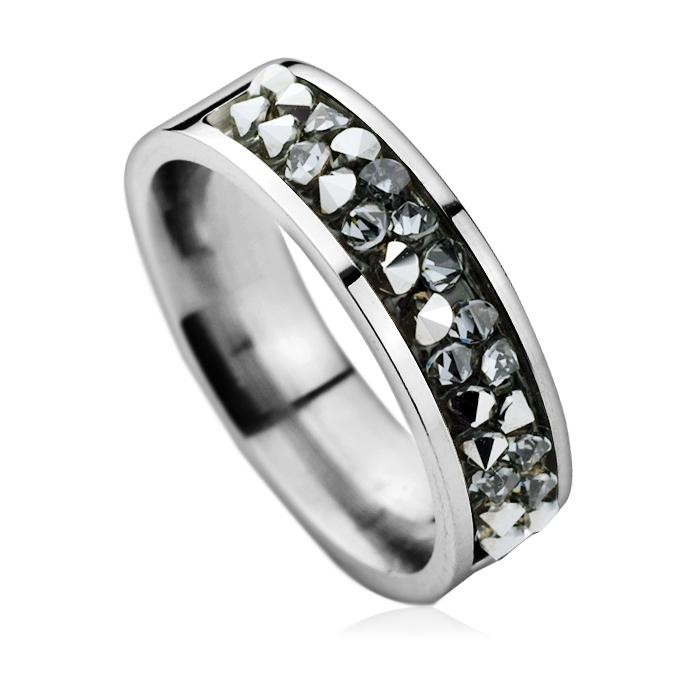 Oceľový prsteň SWAROVSKI®el., GREY METALISEÉ