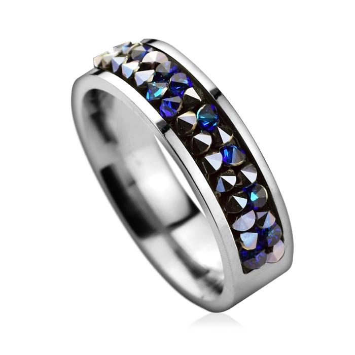 Oceľový prsteň SWAROVSKI®el., BERMUDA BLUE