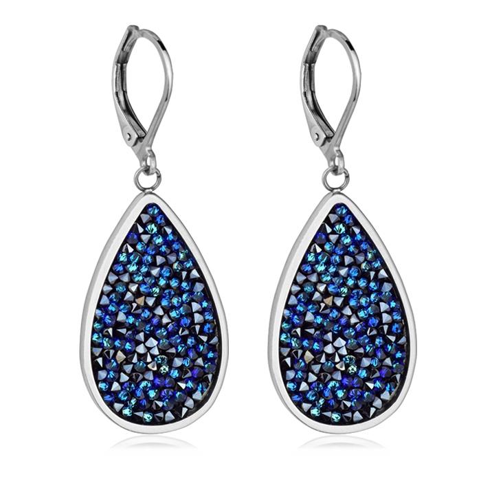 Oceľové náušnice s kryštálmi Crystals from Swarovski ®, BERMUDA BLUE