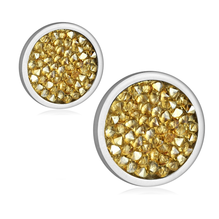 Ocelové náušnice s krystaly Crystals from Swarovski®, GOLDEN SHADOW LV6002-GOL