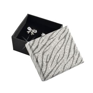 Darčeková krabička strieborná / čierna rebrovaná