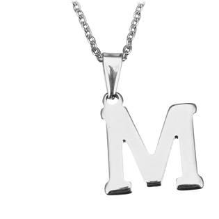 """Ocelový řetízek s přívěškem iniciála """"M"""""""
