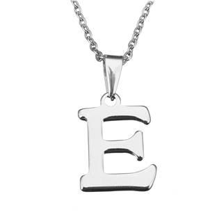 """Ocelový řetízek s přívěškem iniciála """"E"""""""