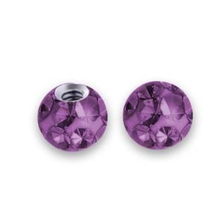 Náhradní kulička s krystaly Swarovski®, 3 mm, závit 1,2 mm, barva tmavě fialová