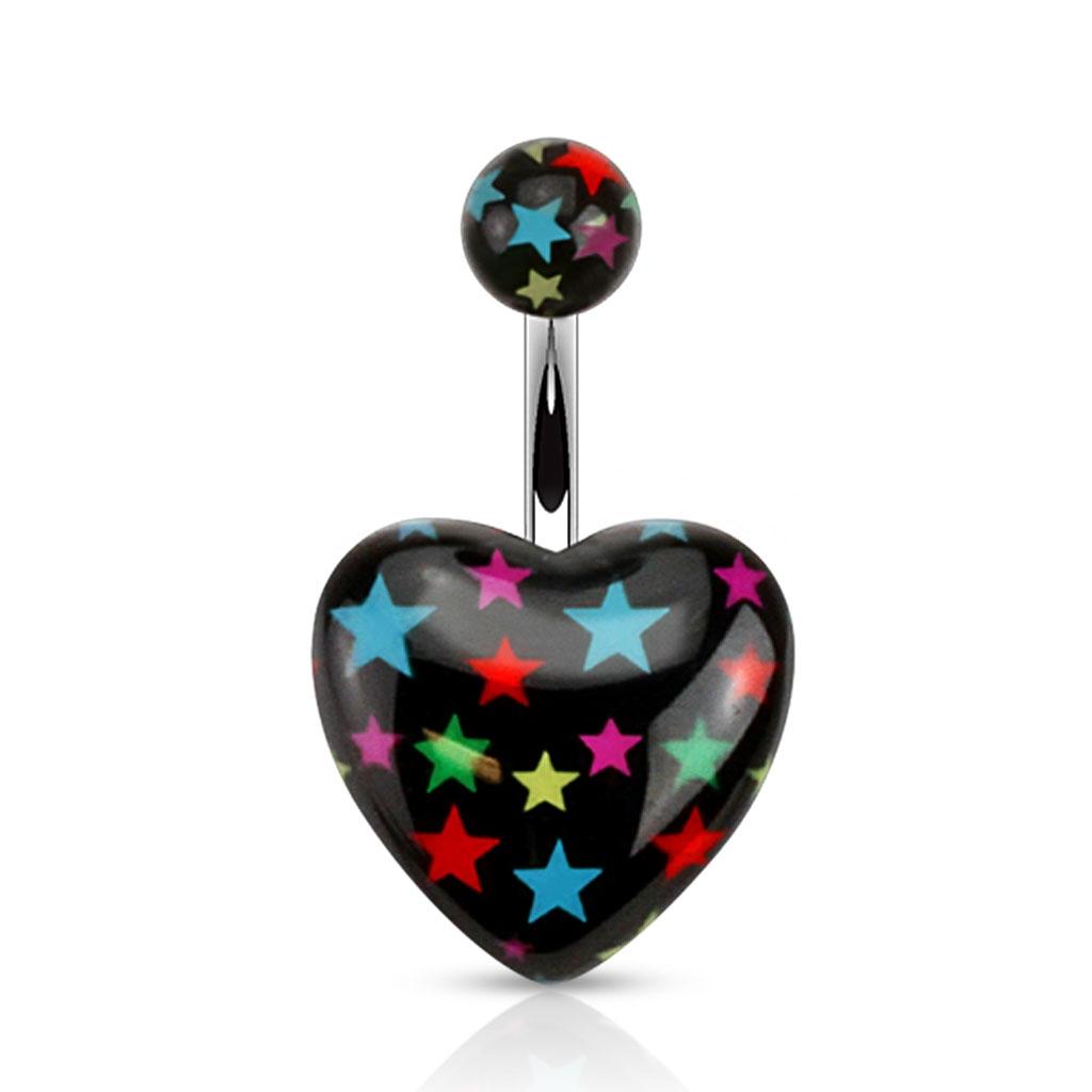 Čierny piercing do pupku s hviezdami