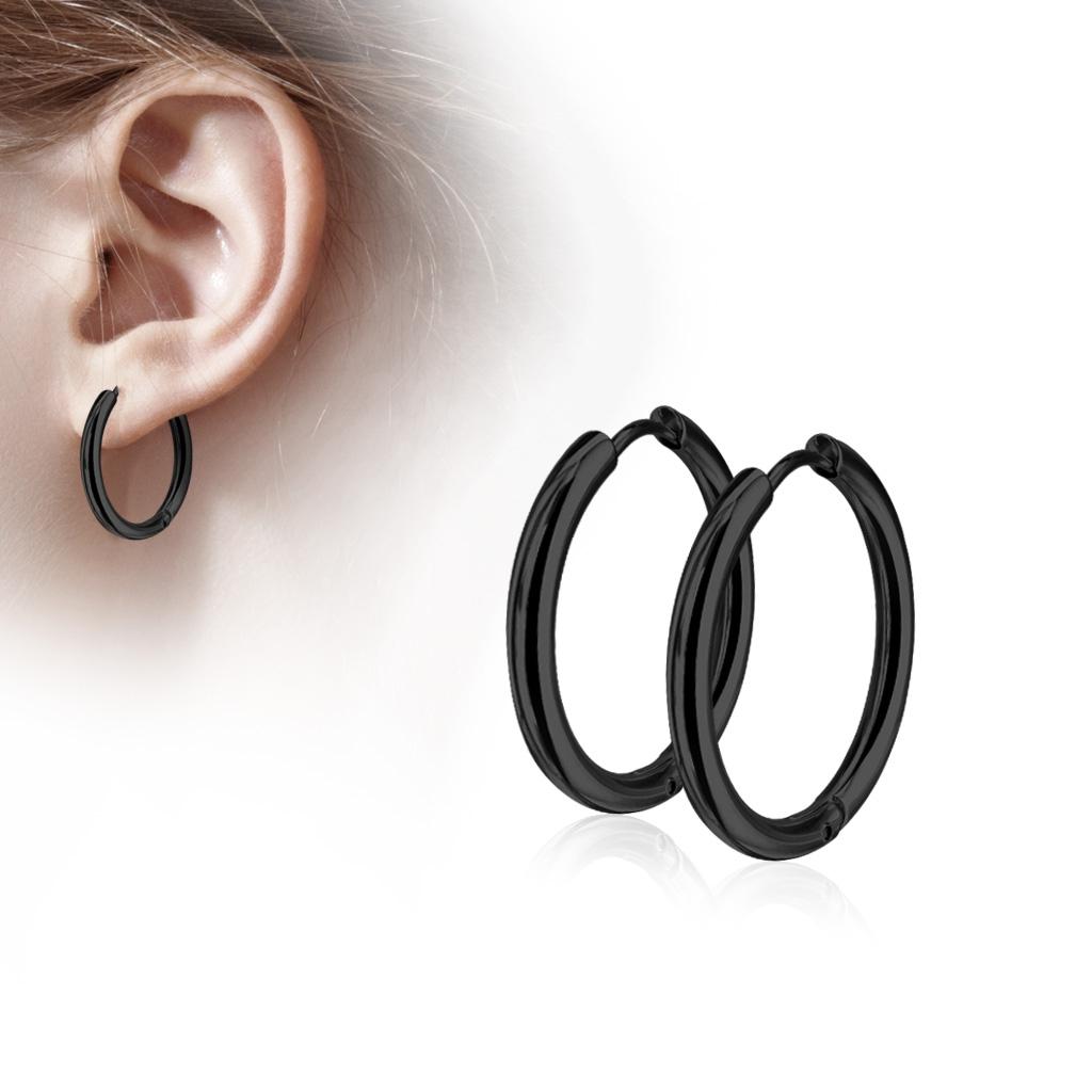 Čierne oceľové náušnice - kruhy 12 mm