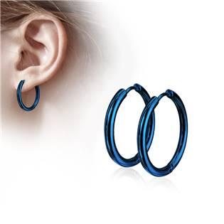 Modré ocelové náušnice - kruhy 17 mm