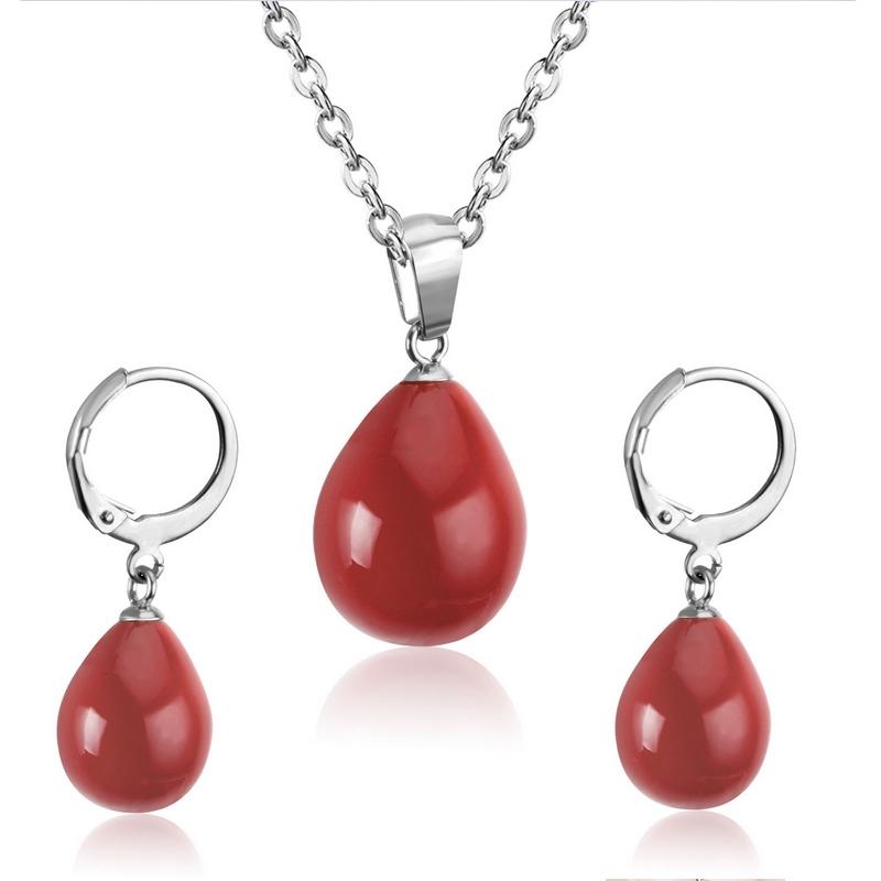 Set šperkov z chirurgickej ocele, farba červená