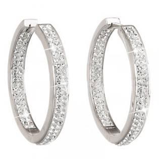 Stříbrné kruhy 30mm s krystaly Crystals from Swarovski® Crystal