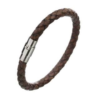Kožený náramek splétaný hnědý, délka 22 cm
