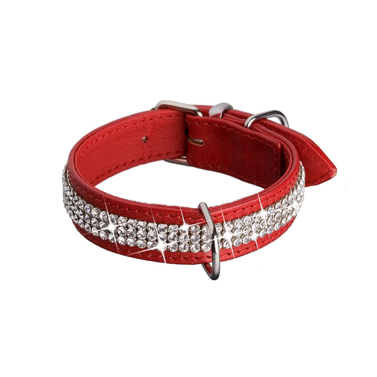 Červený psí obojok s kryštálmi Crystals from Swarovski ®