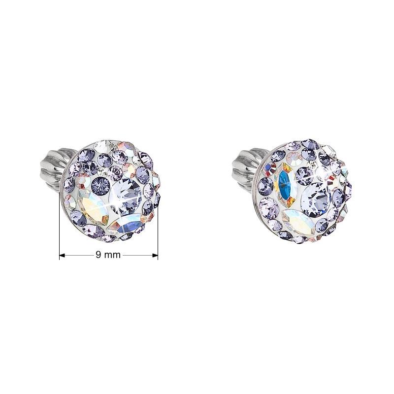 Stříbrné náušnice s krystaly Crystals from Swarovski®, Violet EG2008-V