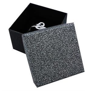 Dárková krabička na prsten stříbřitě šedá/černá