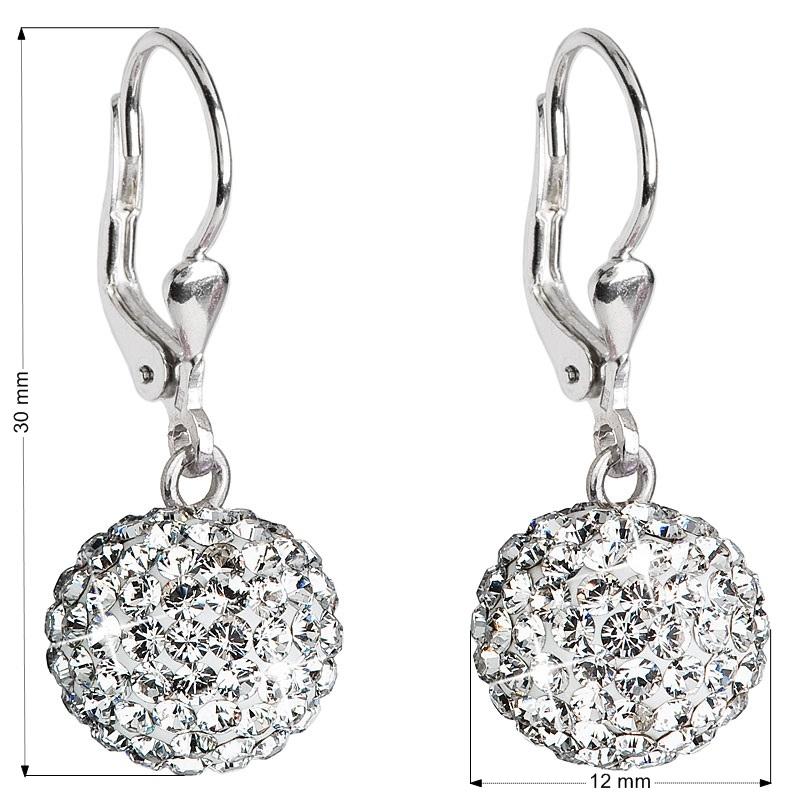Stříbrné náušnice kuličky s krystaly Crystals from Swarovski® Crystal EG2000-CR