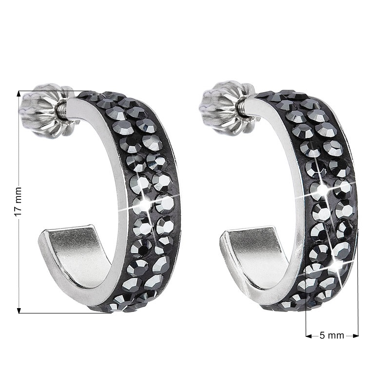 Stříbrné náušnice s krystaly Crystals from Swarovski®, kruhy 17 mm EG2032-JB