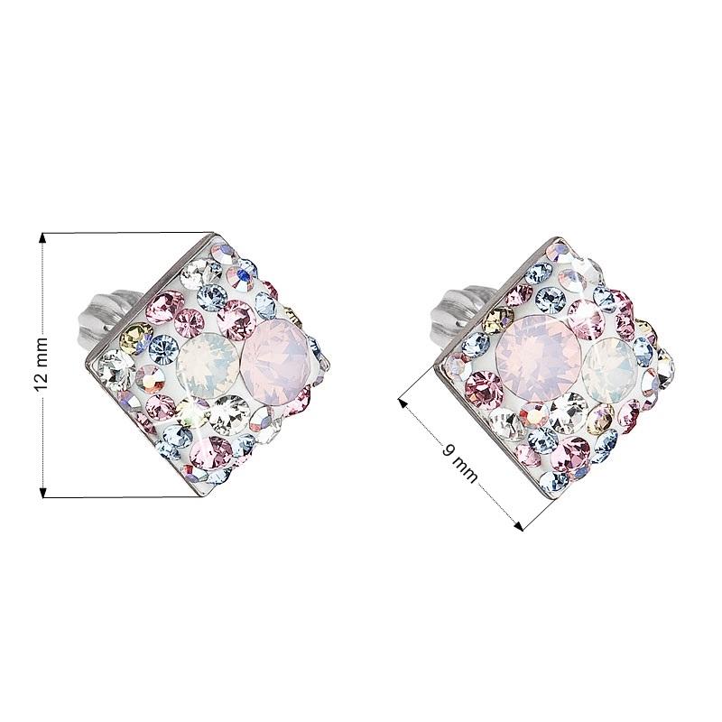 Stříbrné šroubovací náušnice s krystaly Crystals from Swarovski®, Magic Rose EG2006-MR