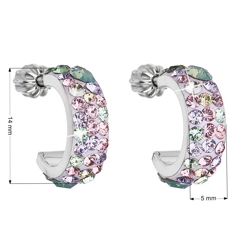Stříbrné náušnice kruhy s krystaly Crystals from Swarovski®, Sakura EG2031-SK