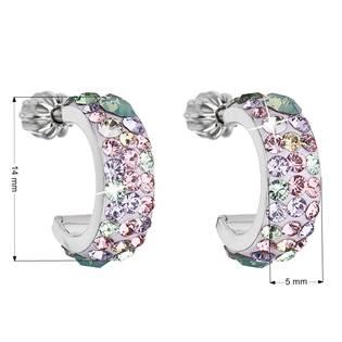 EVOLUTION GROUP CZ Stříbrné náušnice kruhy s krystaly Crystals from Swarovski®, Sakura - 31118.3 Sakura