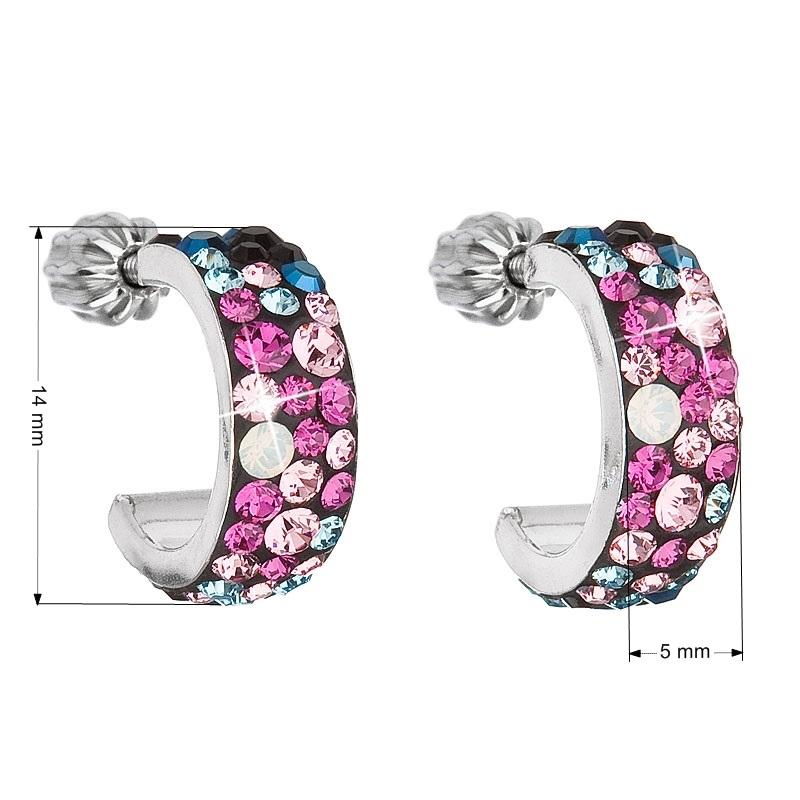 Stříbrné náušnice kruhy s krystaly Crystals from Swarovski®, Galaxy EG2031-GX
