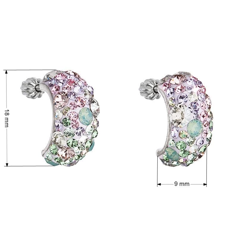 Stříbrné šroubovací náušnice s krystaly Crystals from Swarovski®, Sakura EG2002-SK