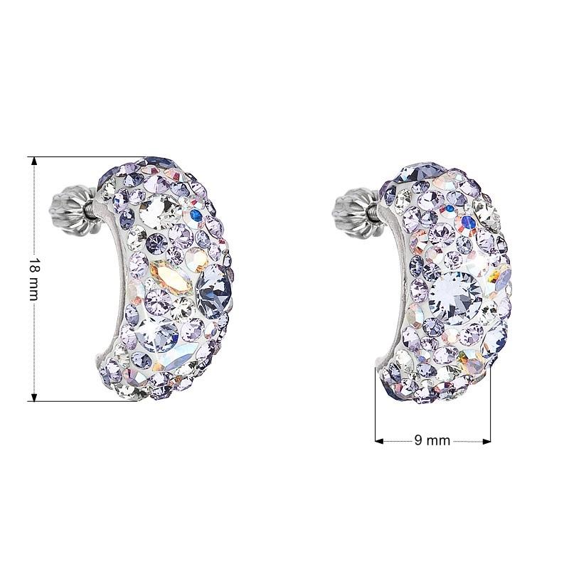 Stříbrné šroubovací náušnice s krystaly Crystals from Swarovski® Violet EG2002-VI
