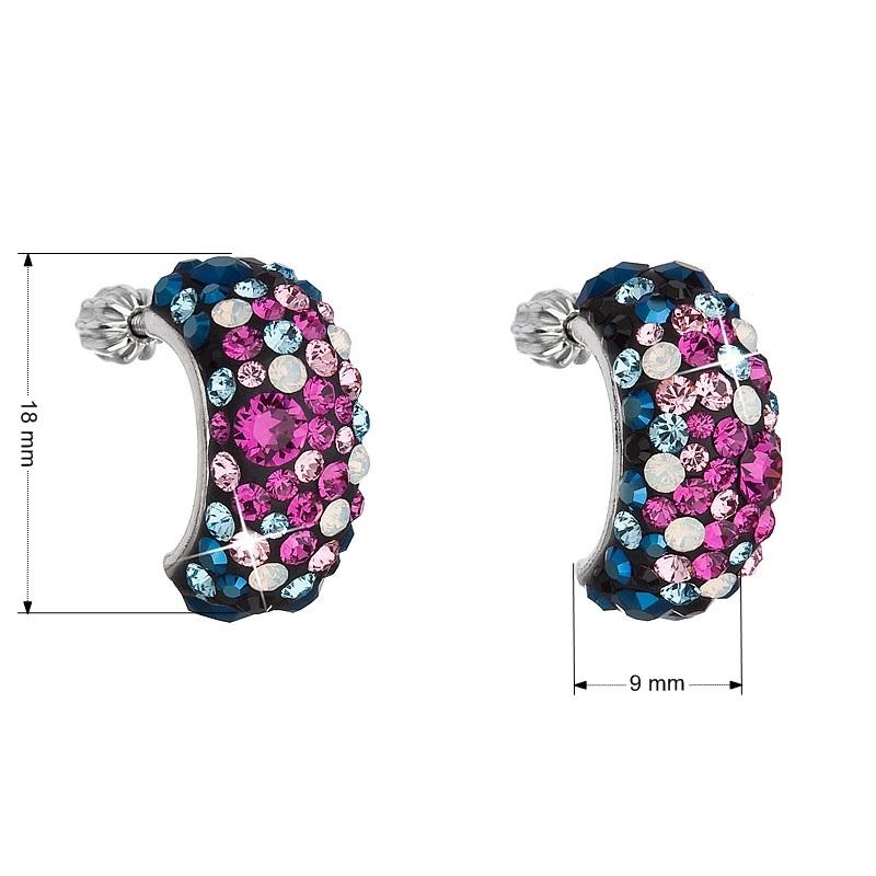 Stříbrné šroubovací náušnice s krystaly Crystals from Swarovski®, Galaxy EG2002-GX
