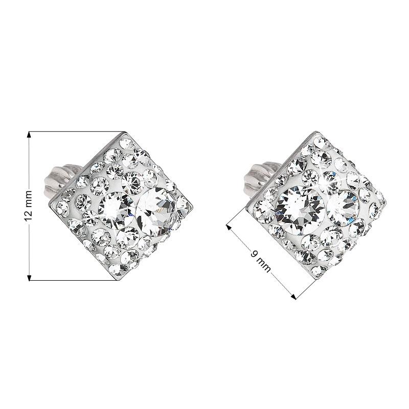 Stříbrné šroubovací náušnice s krystaly Crystals from Swarovski®, Crystal EG2006-CR