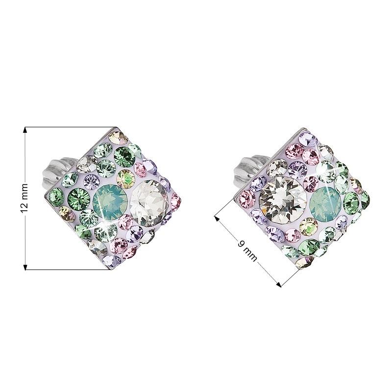 Stříbrné šroubovací náušnice s krystaly Crystals from Swarovski®, Sakura EG2006-SK