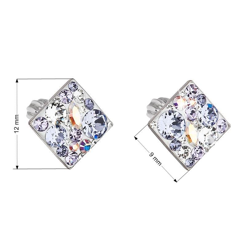 Stříbrné šroubovací náušnice s krystaly Crystals from Swarovski®, Violet EG2006-VI