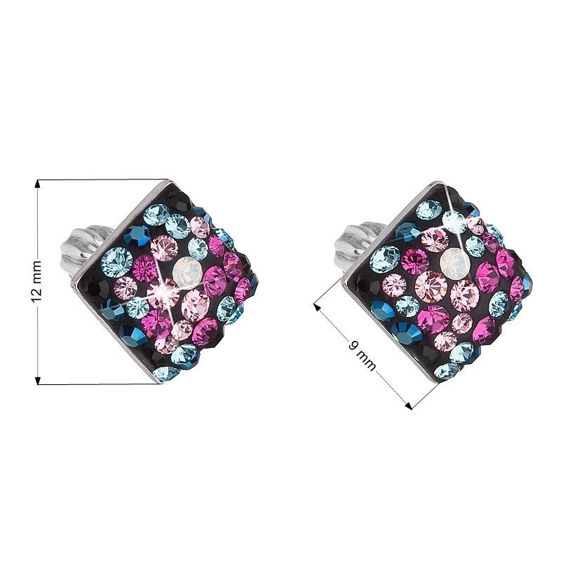 Stříbrné šroubovací náušnice s krystaly Crystals from Swarovski®, Galaxy EG2006-GX