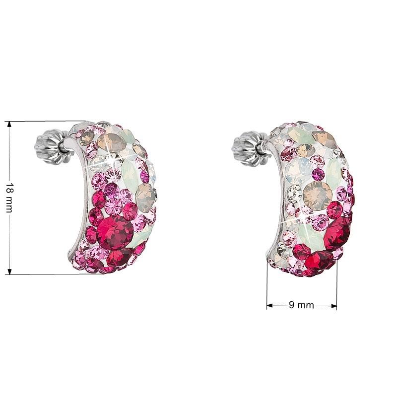 Stříbrné šroubovací náušnice s krystaly Crystals from Swarovski®, Sweet Love EG2002-SL
