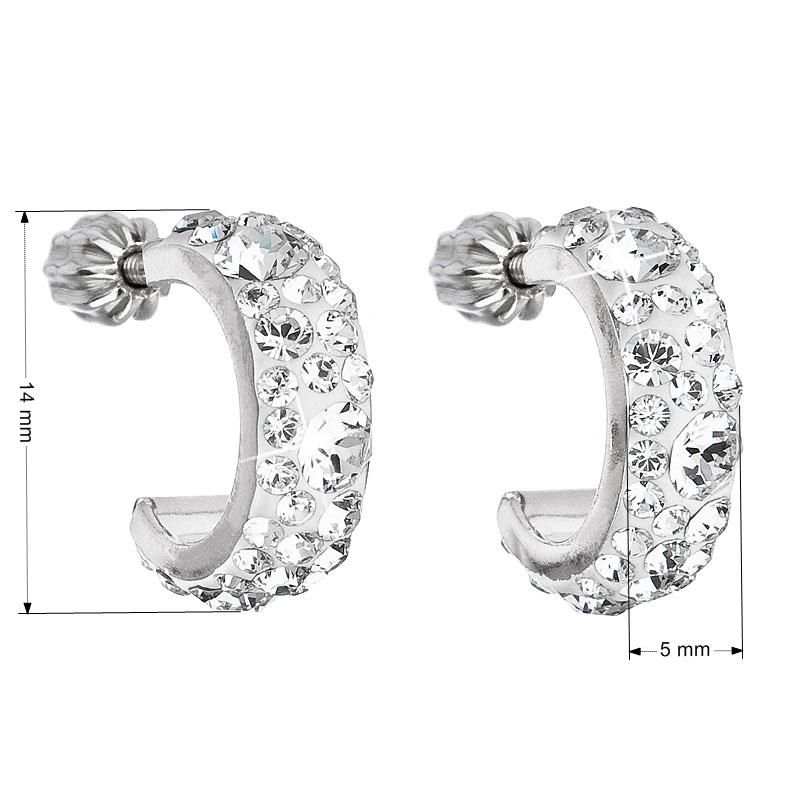 Stříbrné náušnice kruhy s krystaly Crystals from Swarovski®, Crystal EG2031-CR