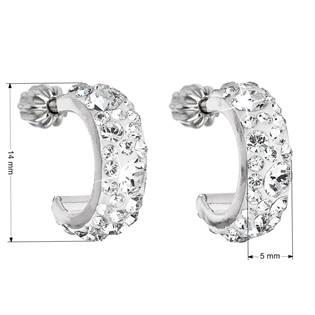 EVOLUTION GROUP CZ Stříbrné náušnice kruhy s krystaly Crystals from Swarovski®, Crystal - 31118.1 Crystal
