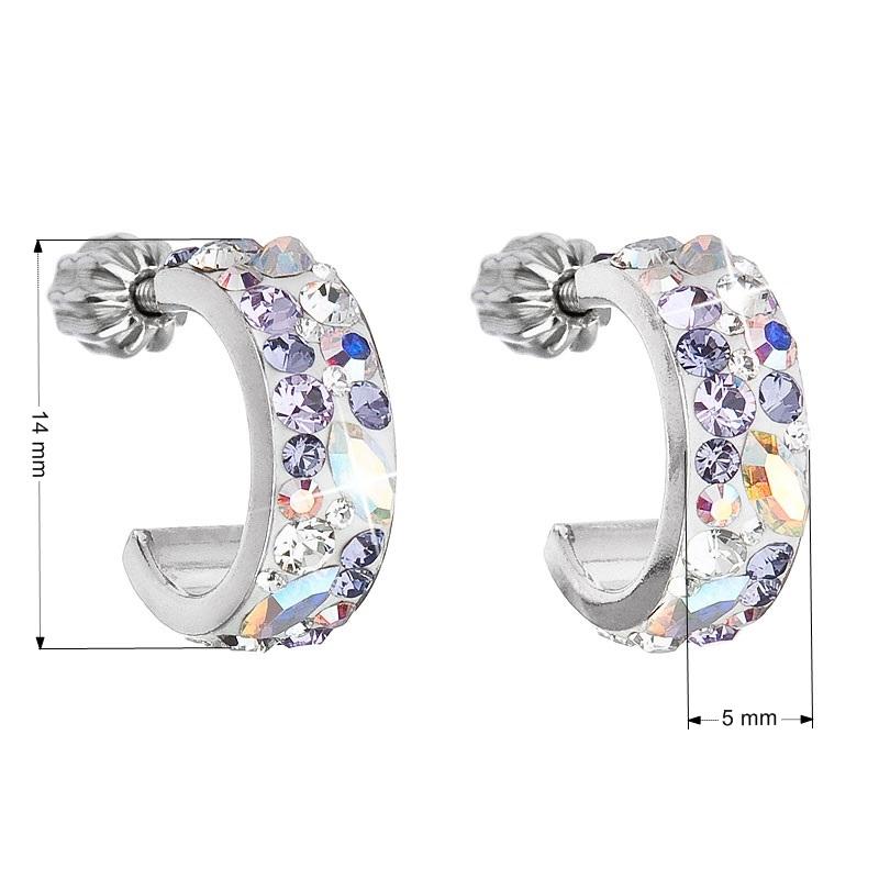 Stříbrné náušnice kruhy s krystaly Crystals from Swarovski®, Violet EG2031-VI